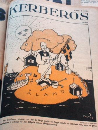 """Kerberos nr 1 1919. """"Det är längesedan en flagga vajade vid åländska hem"""" sade Julius Sundblom."""