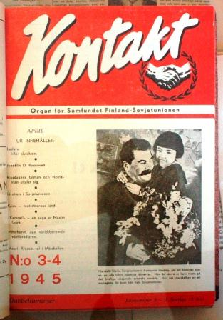 Samfundet Finland-Sovjetunionens svenskspråkiga tidskrift Kontakt, nr 3-4 1945.