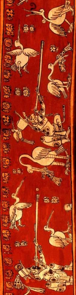 "Detail of the famous ""K4151"" Mayan vase with a ""comic"" of a hunter shooting a bird in the neck, capturing the backward movement of the bird when it dies."