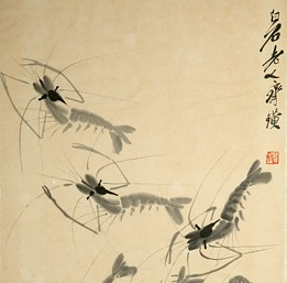 Shrimps. Detail of a painting by the Chinese master Qi Baishi (1864-1957).