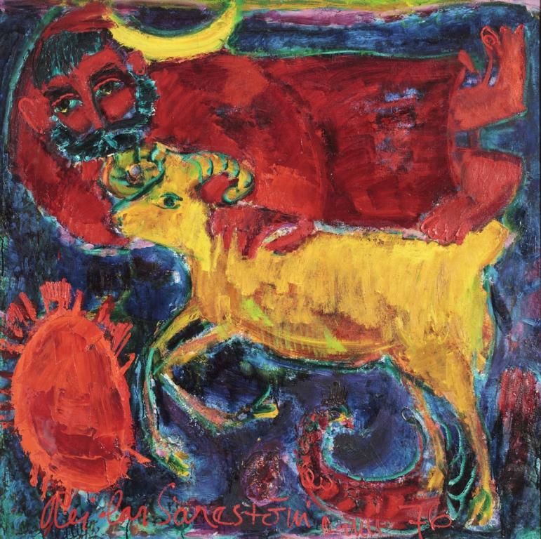 """Reidar Särestöniemi, """"Till himlen leder många vägar"""" (Himlabässens janusansikte), 1976. Olja på duk, 130 x 130 cm. Åbo konstmuseum: pressbild (cop. Kirsi och Keio Eerikäinens konststiftelse)"""