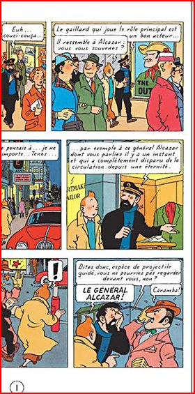 Tintin: Coke en stock (1958), höger halva av första sidan.