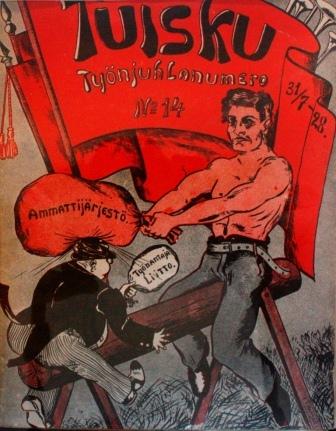 Proletären drämmer arbetarorganisationen i skallen på kapitalisten. Tuisku, nr 14 (juli 1928).